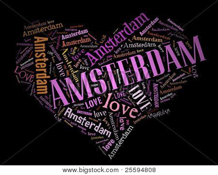 Wordcloud: love heart of city Amsterdam