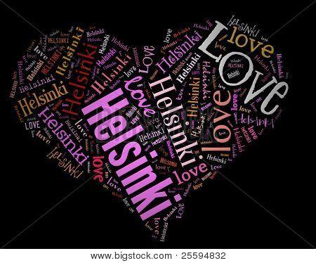 Wordcloud: love heart of city Helsinki