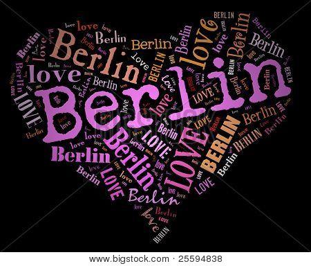 Wordcloud: love heart of city Berlin