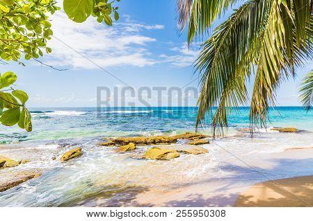 Punta Uva, Puerto Viejo, Costa Rica. March 2018. A View Of The Beach At Punta Uva In Costa Rica