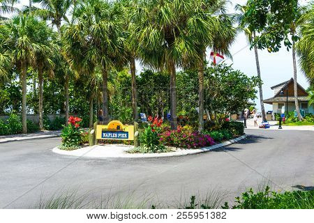 Naples, Usa - May 8, 2018: View Of Sign Of Naples Pier On The Coast At Naples, Usa On May 8, 2018. N