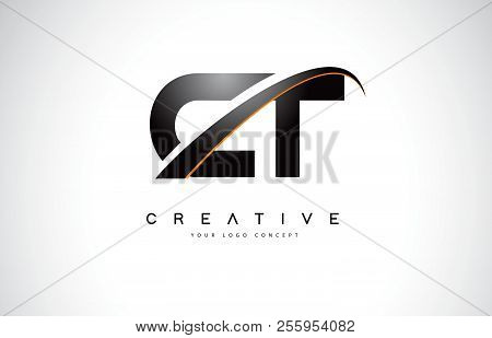 Ct C T Swoosh Letter Logo Design With Modern Yellow Swoosh Curved Lines Vector Illustration.