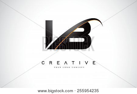 Lb L B Swoosh Letter Logo Design With Modern Yellow Swoosh Curved Lines Vector Illustration.
