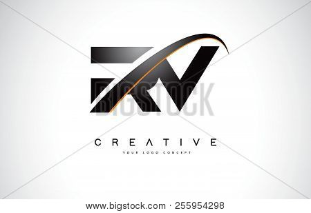 Rv R V Swoosh Letter Logo Design With Modern Yellow Swoosh Curved Lines Vector Illustration.