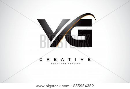 Vg V G Swoosh Letter Logo Design With Modern Yellow Swoosh Curved Lines Vector Illustration.