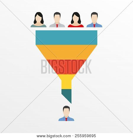 Funnel Infographics Template With People Icons: Customers Or Employees. Marketing, Sales Or Hr Funne