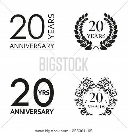 20 Years Anniversary Set. Anniversary Icon Emblem Or Label Collection. 20 Years Celebration And Cong