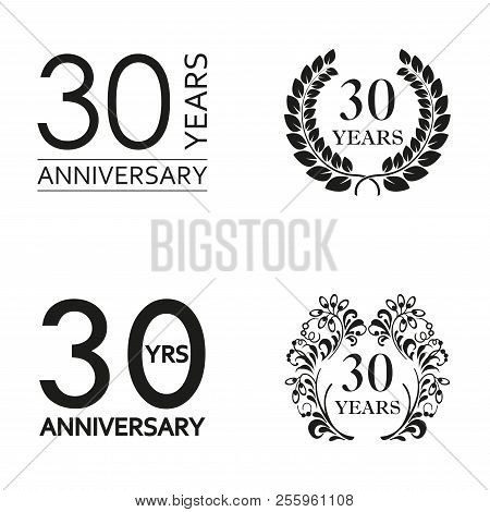30 Years Anniversary Set. Anniversary Icon Emblem Or Label Collection. 30 Years Celebration And Cong