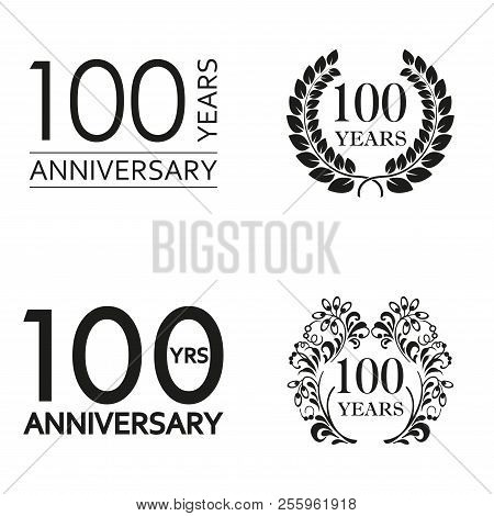 100 Years Anniversary Set. Anniversary Icon Emblem Or Label Collection. 100 Years Celebration And Co
