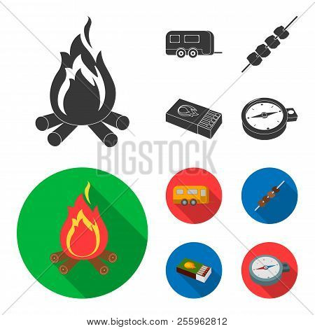 Trailer, Shish Kebab, Matches, Compass. Camping Set Collection Icons In Black, Flat Style Vector Sym