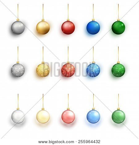 Colorful Christmas Balls Set On White Background. Christmas Decorations. Vector Object For Christmas