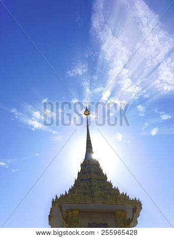 The radiance of sunlight, which is on top of golden  model at Krabi, Thailand. poster