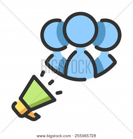 Speakerphone With People Icon Vector Illustration In Line Color Design