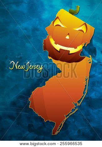 New Jersey State Map Usa With Halloween Pumpkin Face Illustration
