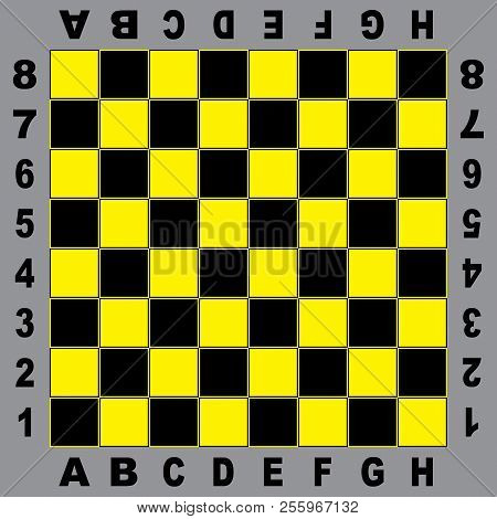 Chess Table Yellow Black Board For Competition Original Design With Field Coordinates Black On Gray