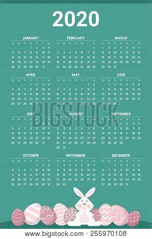 Easter 2020 Calendar.2020 Calendar Easter Vector Photo Free Trial Bigstock