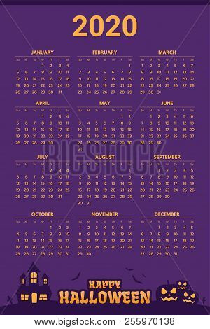 When Is Halloween Day 2020 2020 Calendar Vector & Photo (Free Trial) | Bigstock
