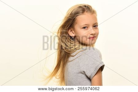 Windy Hair. Small Girl Has Windy Hair. Windy Hair Of Little Cute Girl Isolated On White, Copy Space.