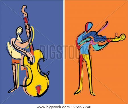two popart musicians playing contrabass and violin