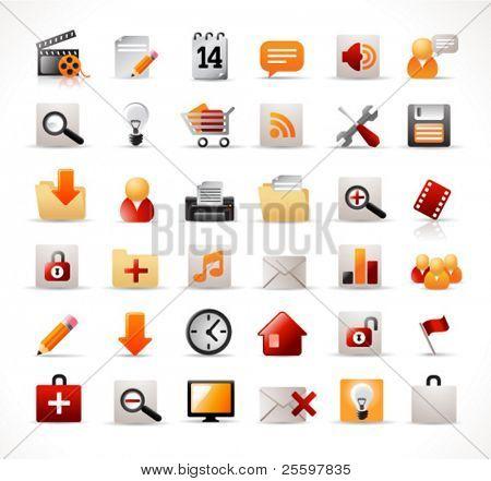 conjunto de 36 ícones (fácil editáveis, sem transparências)