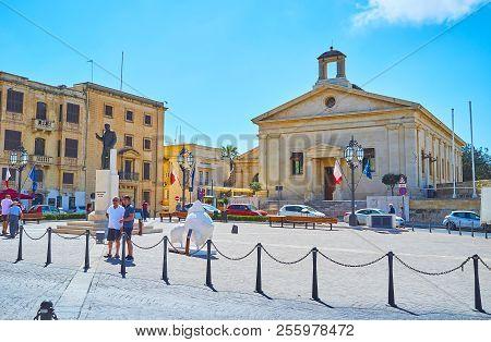 Valletta, Malta - June 17, 2018: The Malta Stock Exchange Houses In Building Of Garrison Chapel, Sit