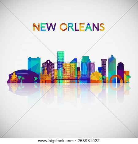 New Orleans Skyline Silhouette In Colorful Geometric Style. Symbol For Your Design. Vector Illustrat