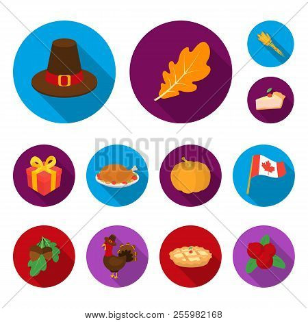 Canada Thanksgiving Day Flat Icons In Set Collection For Design. Canada And Tradition Vector Symbol