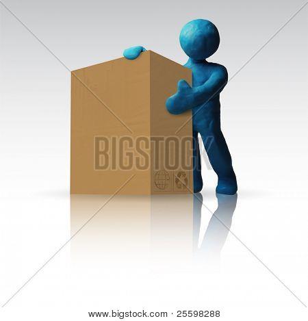 Clay Figure with carton box