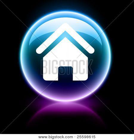 neon glossy web icon - home