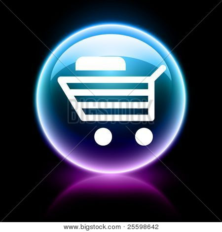 neon glossy web icon - shopping cart