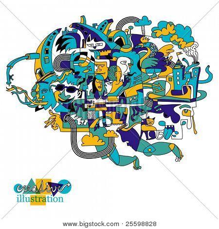 Ilustración creativa de funky