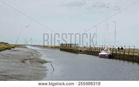 Noordpolderzijl. August-26-2018. Boat In The Harbour Noordpolderzijl. The Netherlands