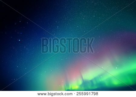 Vector Illustration With Beautiful Starry Sky And Northern Lights. Abstract Colorful Background With