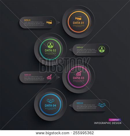 Infographics Circle Paper With 4 Data Vertical Template In Dark Background.vector Illustration Abstr