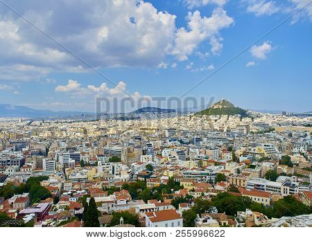 Panoramic View Of The City Of Athens With The Lykavittos Hill In Background. View From The Viewpoint