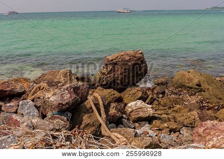 A Rocky Part Of The Beach In Koh Larn