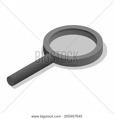 Scientific Magnifying School Glass Icon. Isometric Of Scientific Magnifying School Glass Icon For We