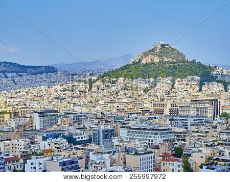 Athens, Greece - July 1, 2018. Panoramic View Of The City Of Athens With The Lykavittos Hill In Back