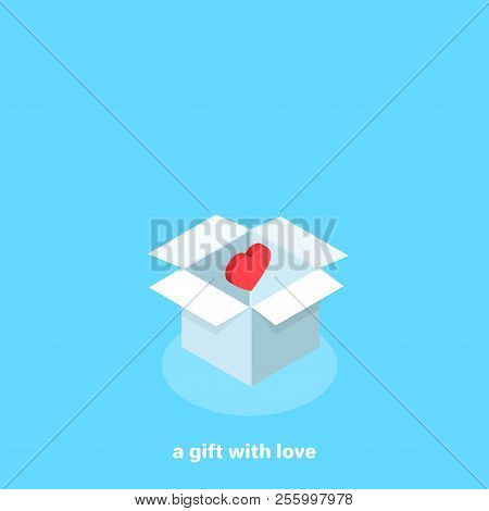 White Box On A Blue Background With A Red Heart Inside, Isometric Image