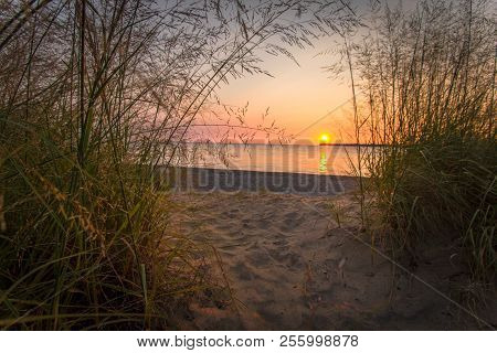Scenic Sunrise Beach. Summer Sunrise Framed By Dune Grass And Sandy Beach Path To The Clear Waters O