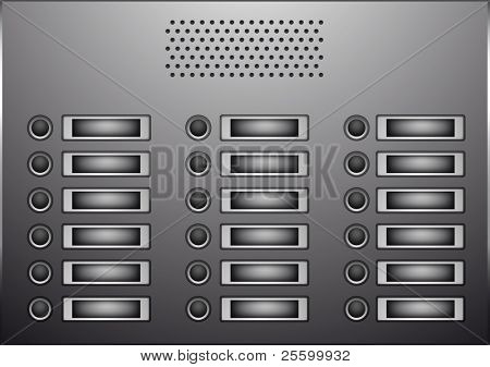 A grey doorbell panel with speakers