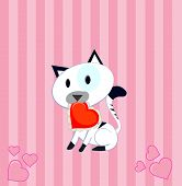 valentine cat holding a heart in the mouth showing care poster