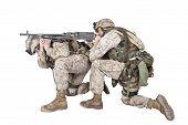 Marines shooting with machine gun studio shoot poster