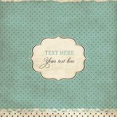Vintage polka dot card with lace, scrap template of worn distressed design poster