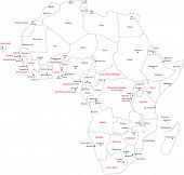 Africa map with countries and capital cities poster