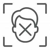 Face ID disapprove line icon, face recognition and face identification, face scanning sign, vector graphics, a linear pattern on a white background, eps 10. poster