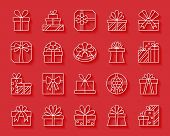 Gift paper cut art line icons set. 3D web sign kit of bounty box. Present linear pictogram collection includes stack, prize, parcel. Simple gift vector paper carved icon shape. Material design symbol poster
