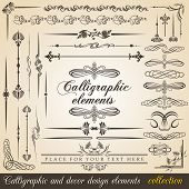 Calligraphic and decor design elements. Vector design corners, bars, swirls, frames and borders. Hand written retro feather symbols. poster