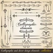 Calligraphic and decor design elements. Vector design corners, bars, swirls, frames and borders. Hand written retro feather symbols. poster