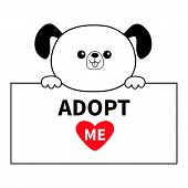 Adopt me. Dog head face hanging on paper board template. Hands paw. Pet adoption. Help homeless animal Cute cartoon puppy character. Funny baby pooch. Flat design. White backgroundVector illustration poster